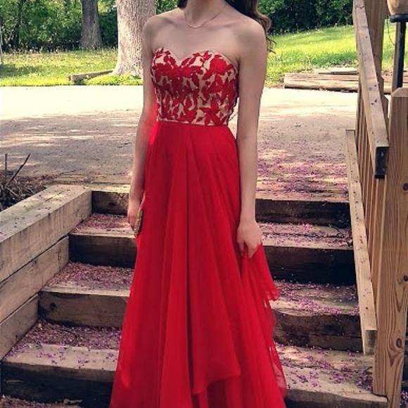 Sherri Hill Dresses   Red Strapless Prom